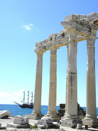 Saved portal of the temple of Apollo at the time of the ancient Greek city of Side on the edge of the sea.