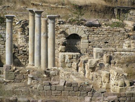 Preserved columns and arches but building foundations of the ancient Greek city Allianoi.