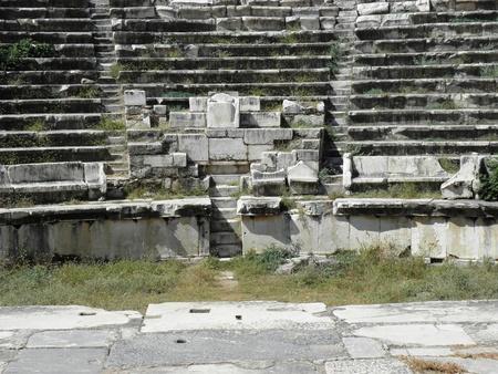 senators: Central places Amphitheatre at Aphrodisias intended for senators and wealthy citizens.