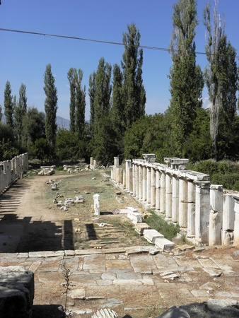 colonade: View from the main street with a colonnade in Aphrodisias.. Stock Photo