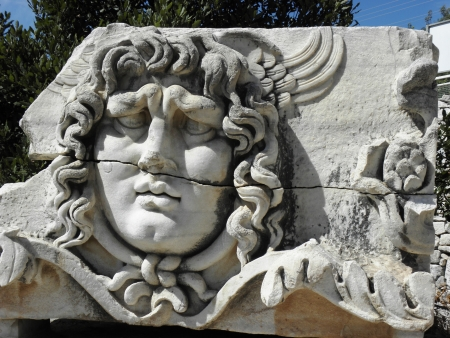 The head of Medusa in the temple of Apollo in Didyma. photo