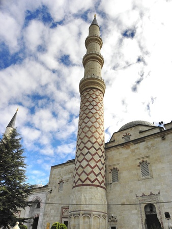15th century: Insight of the mosque with three minarets in Edirne from the mid 15th century  Stock Photo