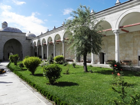 edirne: Beautiful courtyard of the complex Beyazid the second in Edirne
