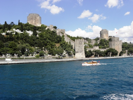 constantinople: Rumeli Hisar fortress built on the European shore of the Bosphorus before the fall of Constantinople  Stock Photo