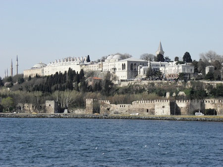 Sultan s Topkapi Palace and behind St  Sofia Basilica viewed from the Bosporus  Stock Photo