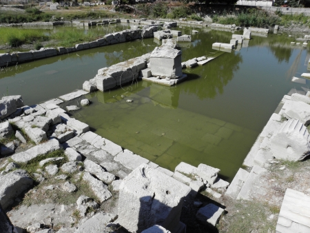 swampy: Swampy parts of public buildings in ancient Greek city Letoon