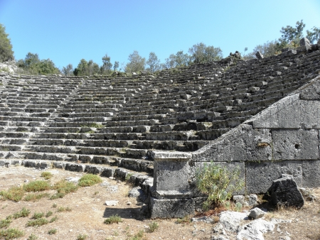 pinar: Part of the Greek amphitheater from the 4th century BC made   8203;  8203;of dark gray stone in ancient Pinar  1072;  Stock Photo
