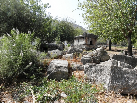 bc: Lycian sarcophagus from  ancient Telmessos dating from 3-4 century BC