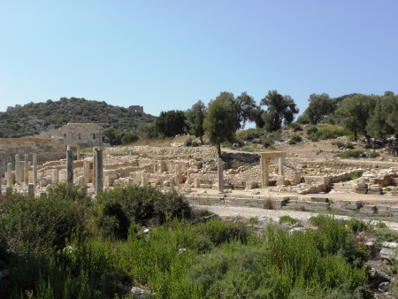 colonade: Street with ruins of ancient colonnade in Patara  Stock Photo