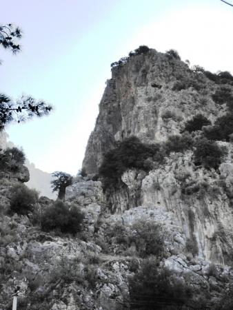 fethiye: Landscape of beautiful solid rocks of the White Mountains in the surroundings of Fethiye Turkey