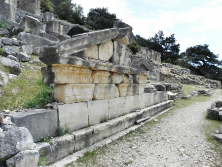 remains: Remains of the gable of a Roman temple-tomb  Stock Photo