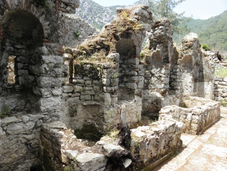 niches: Nymphaeum in ancient Olympos with niches where there were statues