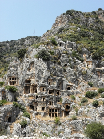 numerous: Numerous terraced rock tombs in the necropolis of ancient Myra  Stock Photo