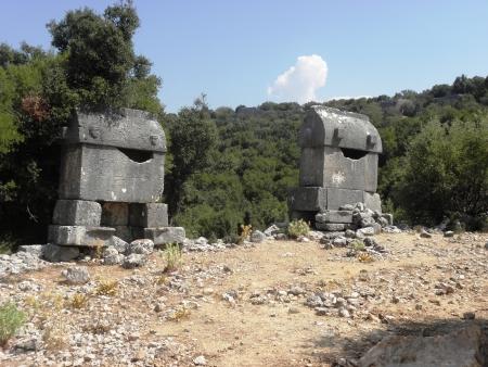 Roman sarcophagus in the necropolis of the ancient city  Kyaneai in Mediterranean Turkey