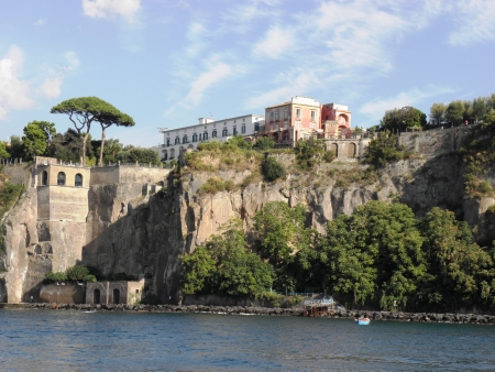 Landscape of Sorrento and its issues of admiration towering cliffs along the coast