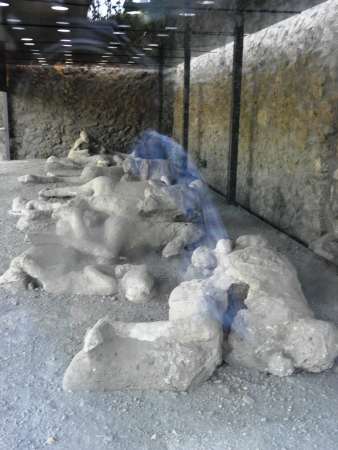 fossilized: Fossilized remains of the inhabitants of Pompeii after digging up ancient city