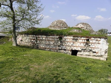 outskirts: Remnants of the old Turkish bath from the 15th century located in the outskirts of Edirne