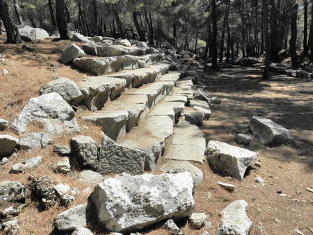 partially: Remains of partially preserved ancient Roman stadium in Kadyanda.