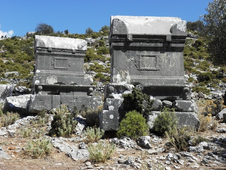 Sarcophagus in the eastern necropolis of ancient Sidyma. Stock Photo