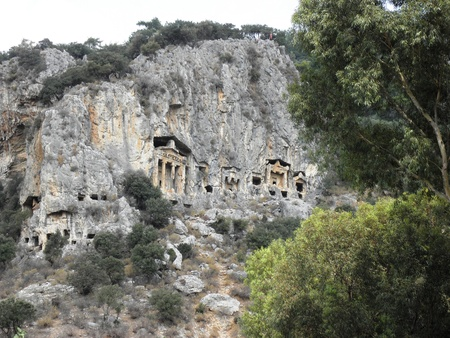 Royal tombs from the 4th century BC near the ancient city Caunos. Stock Photo