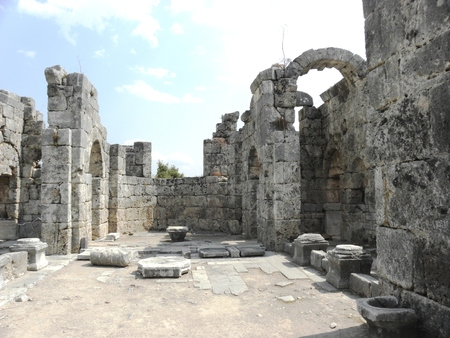 View from the ruins of a Byzantine basilica in the ancient Caunos. Stock Photo