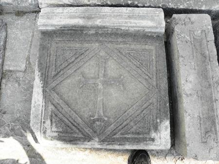 Christian symbol in Byzantine basilica of 3 -4 century ancient city Caunos.
