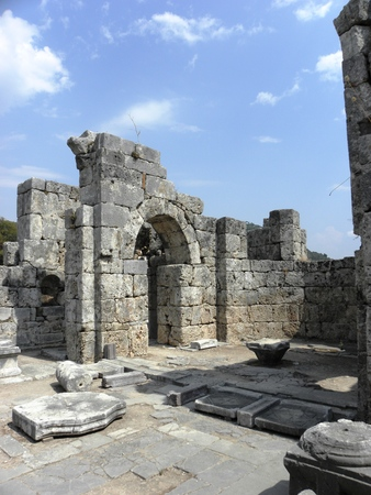 The ruins of the Byzantine basilica from 3-4 century in ancient Caunos.