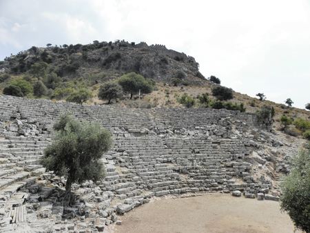 View from the well-preserved Roman amphitheater in the ancient Caunos.
