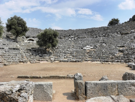 View from the stage of the Roman amphitheater in the ancient Caunos.