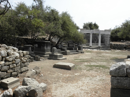 partially: Partially restored Nymphaeum in the north of the agora in ancient Kaunos. Stock Photo