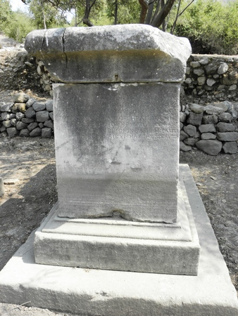Greek inscription on the base of statue in the ancient Kaunos