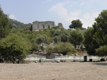View of the Agora in ancient city Caunos to the Roman bath.