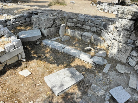 The ruins of a small Byzantine basilica in the ancient Agora Caunos.