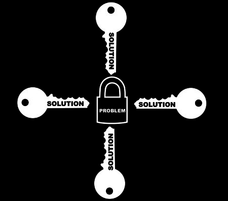 The four solution for one problem isolated in black