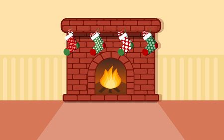 wastage: Fireplace with colorful Christmas stocking for flat vector design