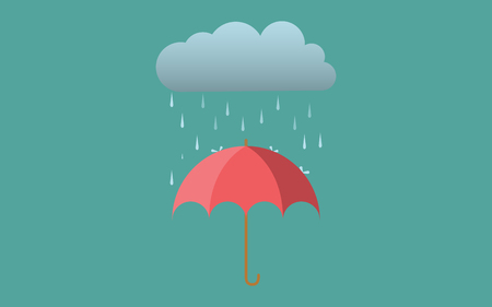 dark cloud: Rain umbrella dark cloud fall flat vector design Autmn Illustration