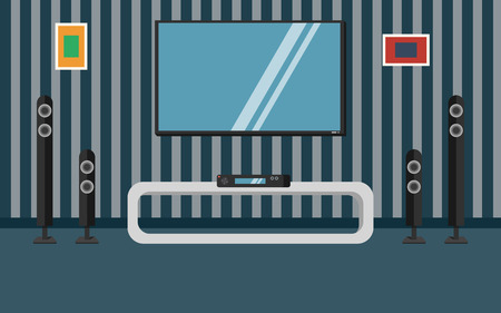 home cinema: Vector illustration apartment with a home cinema. Illustration flat TV