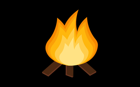 Red Fire icon isolated on background. Modern simple, flat blazing flame sign. Business, internet concept. Trendy vector torch symbol for website design, web button, the mobile app. illustration