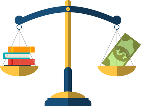 Money and book balance on the scale. education Concept