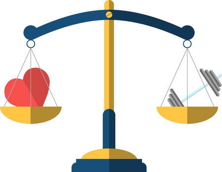 regime: balance scale with heart and dumbbell icon Illustration