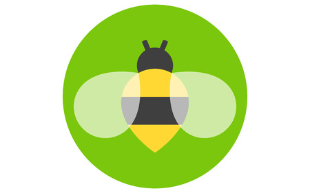 Bee icon isolated on green background. Honey bee flying. Insect. Flat style vector illustration. Ilustrace