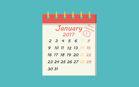 january 1: calendar icon flat of january 1, new year day