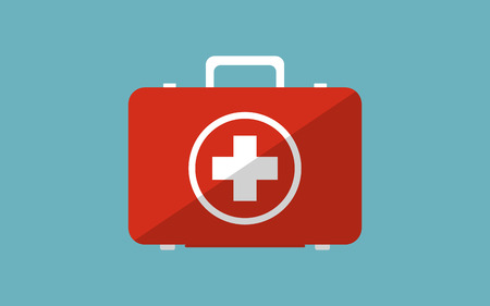 Illustration icon of medicine chest. Flat modern design with shadow