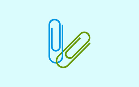 con symbol. Set of colored paper clips isolation. Stylish vector illustration for web design Illustration