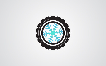 snow tire: Winter tires snowflake abstract illustration