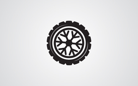 snow tires: Winter tires snowflake abstract illustration