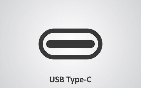 usb various: USB Type-C connector cable icon for apps and websites
