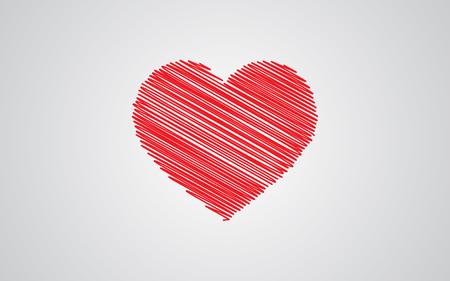 zvýšil: Červená skica srdce s Valentýnem Ilustrace