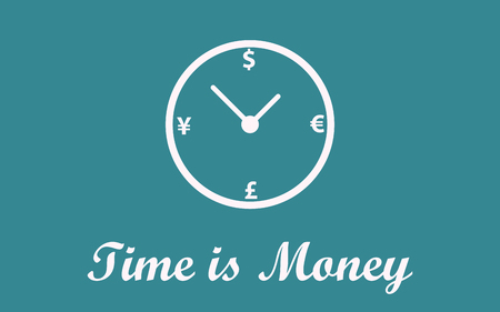 analogy: Time is money concept background
