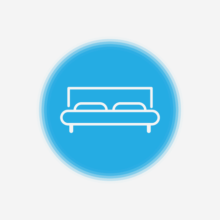 Bed icon in flat style. Hotel symbol isolated on white background. Bed vector icon. Bedroom symbol. Simple abstract bedtime icon. Black sleeping icon. Vector illustration for graphic design, Web, app